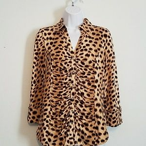 Classic chic INC ruched front animal print blouse